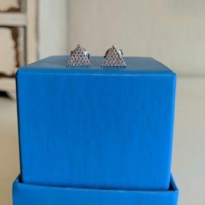 CZ pave triangle stud earrings